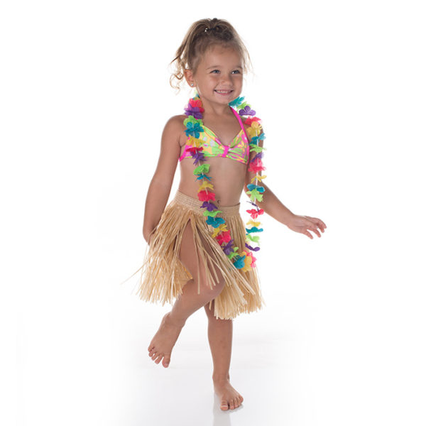 5100 Hula Girls Swimsuit set with Skirt and Lei