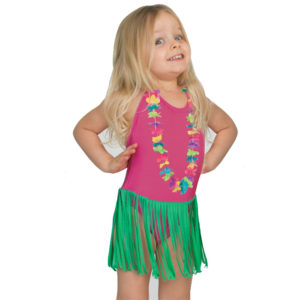 5202 Hula Girls Swimsuit One Piece with Lei