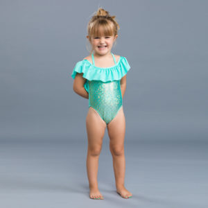 5213 Girls Aqua Off Shoulder One Piece Bathing Suit