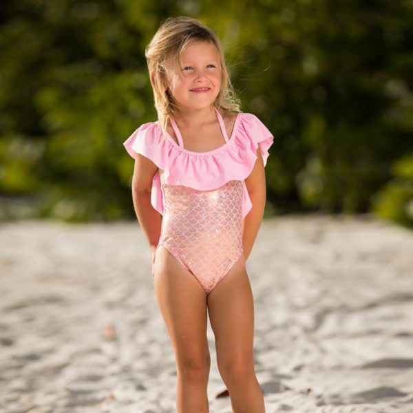 5213 Girls Swimsuit Pink Off Shoulder One Piece