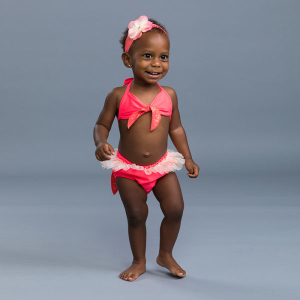 5300 Baby Mermaid Diaper Set Hot Coral Front