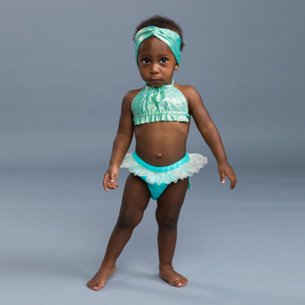 5304 Baby Halter Top Mermaid Swim Diaper Set Aqua Front