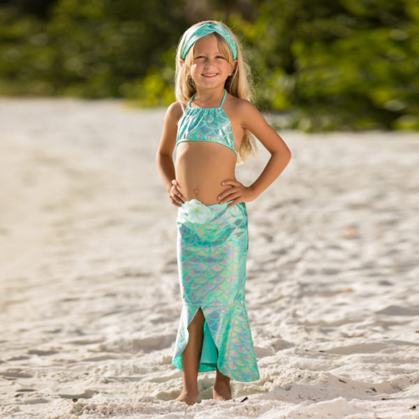 5433J Girls Jewel Mermaid Set Aqua