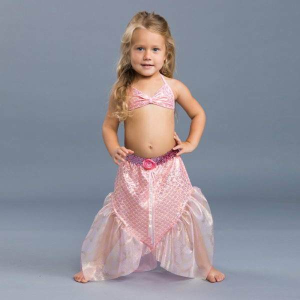 5434 Girls Mermaid Set with Reversible Bikini Pink