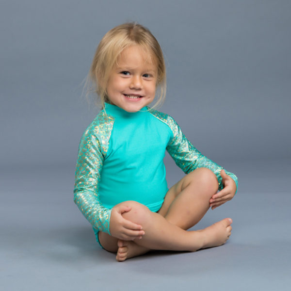 5452 Girls Aqua Long Sleeve Rash Guard