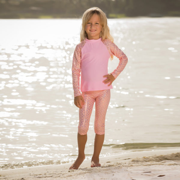 5460 Girls Pink Mermaid Leggings