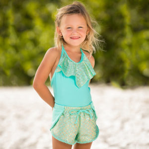 5441A Girls Mermaid Pom Pom Shorts