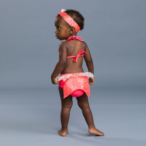 5300 Mermaid Diaper Set Hot Coral Back