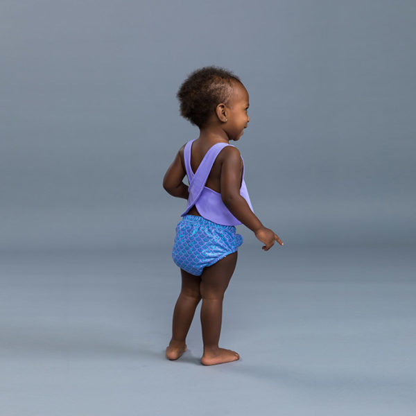 5310 Apron Top Baby Diaper Set Lavender Backside