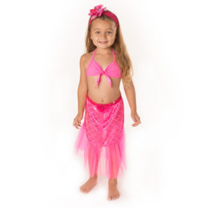 5417ss Mermaid Set with Chiffon Skirt Hot Pink