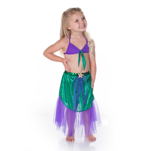 5420 Mermaid Set With Chiffon Skirt Purple and Green