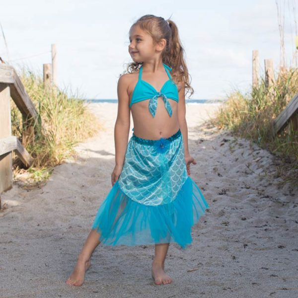 5420 Shelly Mermaid Set with Chiffon Skirt Turquoise