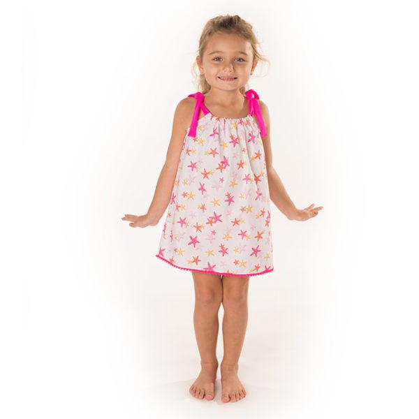 5428SF Girls Star Fish Print Pillowcase Dress